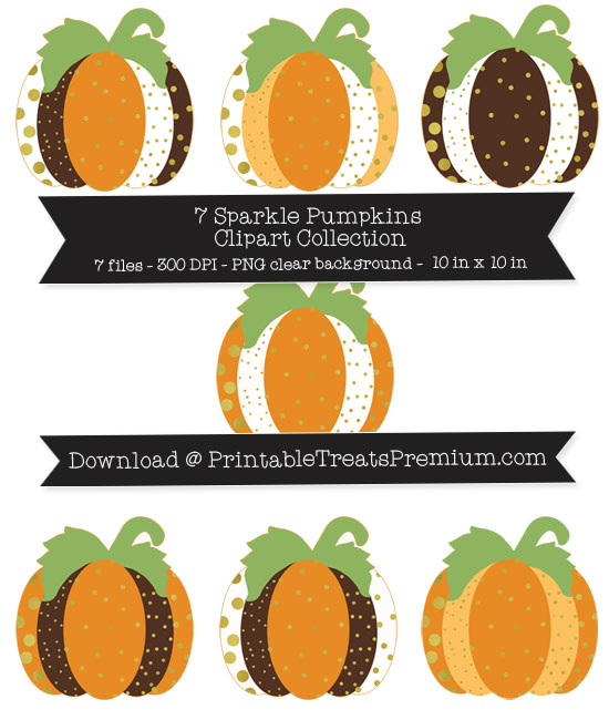 7 Sparkle Pumpkins Clipart Collection