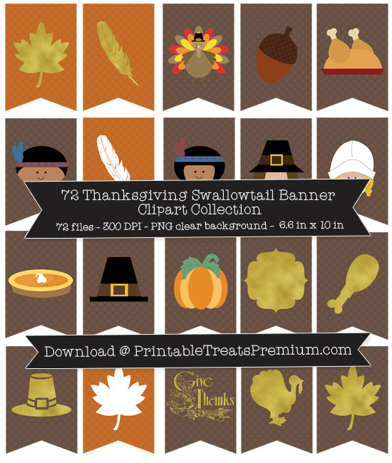 72 Thanksgiving Swallowtail Banner Clipart Collection