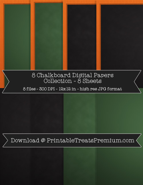 8 Chalkboard Digital Papers Collection