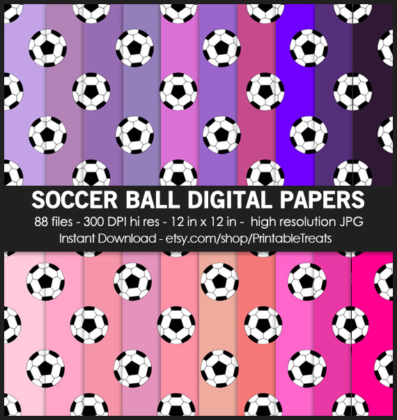 88 Soccer Ball Digital Papers Pack
