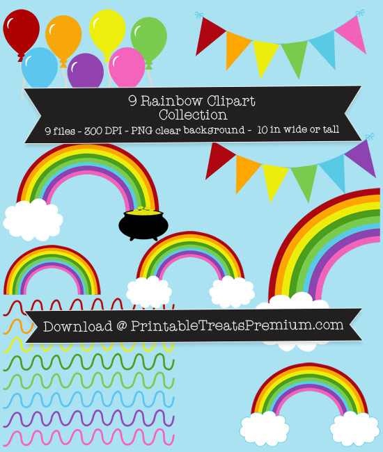 9 Rainbow Clipart Collection