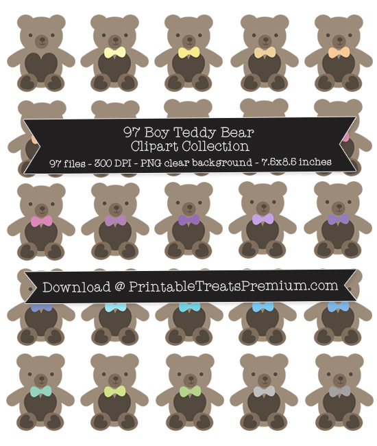 Boy Teddy Bear Clip Art Pack