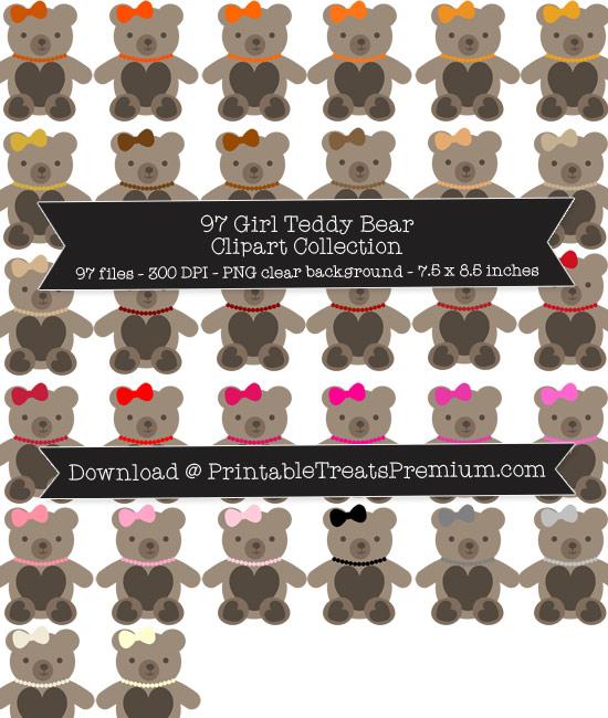 97 Girl Teddy Bear Clipart Collection