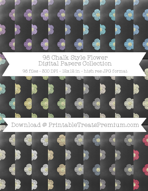 98 Chalk Style Flower Digital Papers Collection