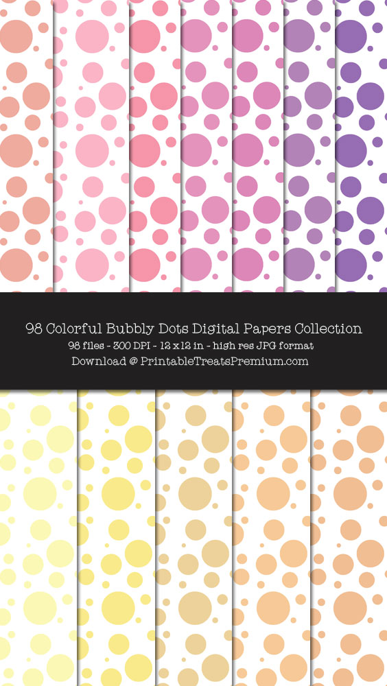 98 Colorful Bubbly Dots Digital Papers Collection