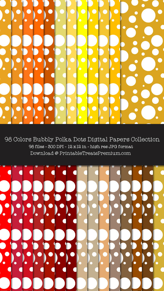 98 Colors Bubbly Polka Dots Digital Papers Collection