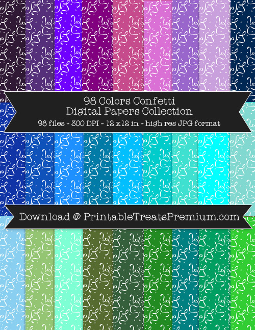 98 Colors Confetti Digital Papers Collection