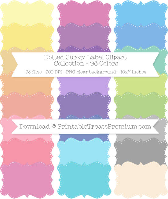 Dotted Curvy Label Clip Art Pack