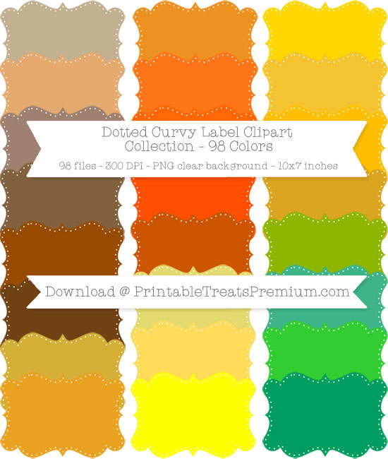98 Colors Dotted Curvy Label Clipart Collection