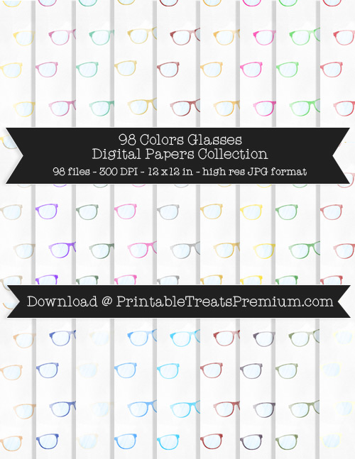 98 Colors Glasses Digital Papers Collection