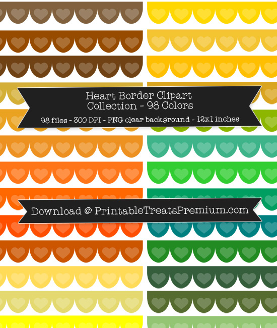 98 Colors Scalloped Heart Border Clipart Collection