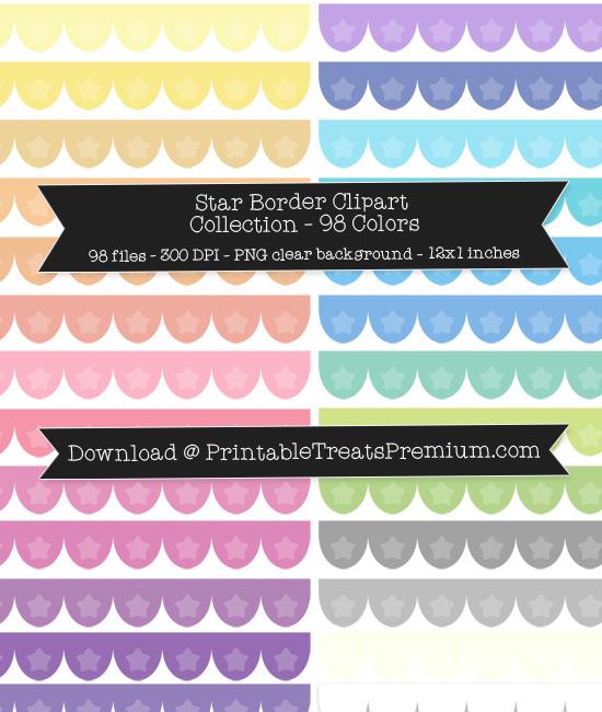 Scalloped Star Border Clip Art Pack