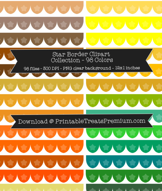 98 Colors Scalloped Star Border Clipart Collection