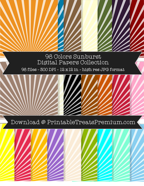 98 Colors Sunburst Digital Papers Collection