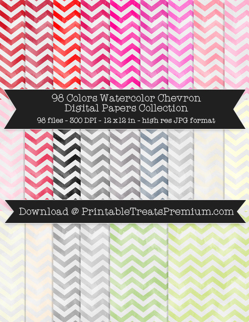 98 Colors Watercolor Chevron Digital Papers Collection