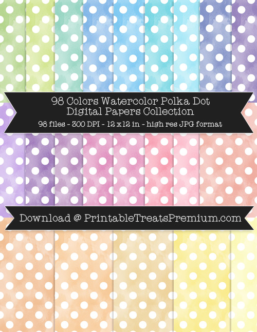 98 Colors Watercolor Polka Dot Digital Papers Collection