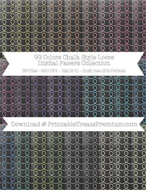 99 Colors Chalk Style Loops Digital Papers Collection