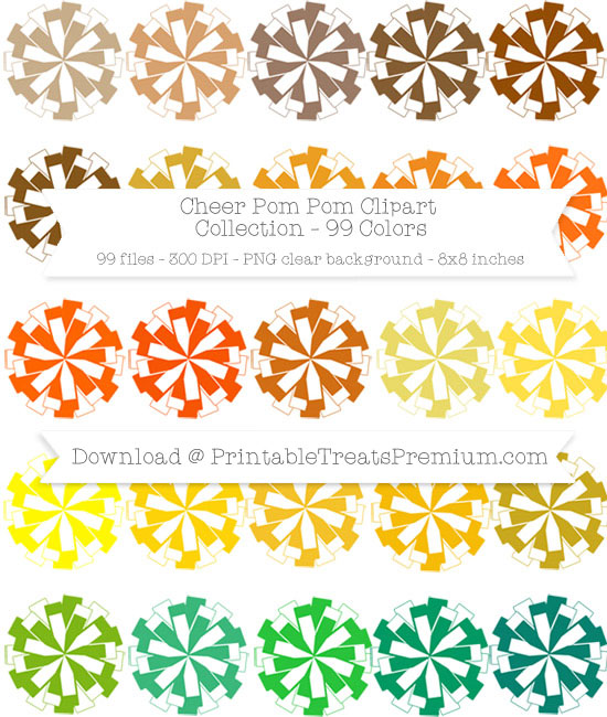 99 Colors Cheer Pom Pom Clipart Collection