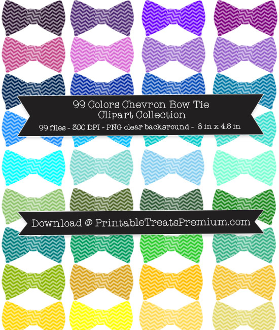 Chevron Bow Tie Clip Art Pack