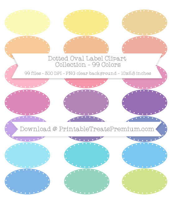 99 Colors Dotted Oval Label Clipart Collection