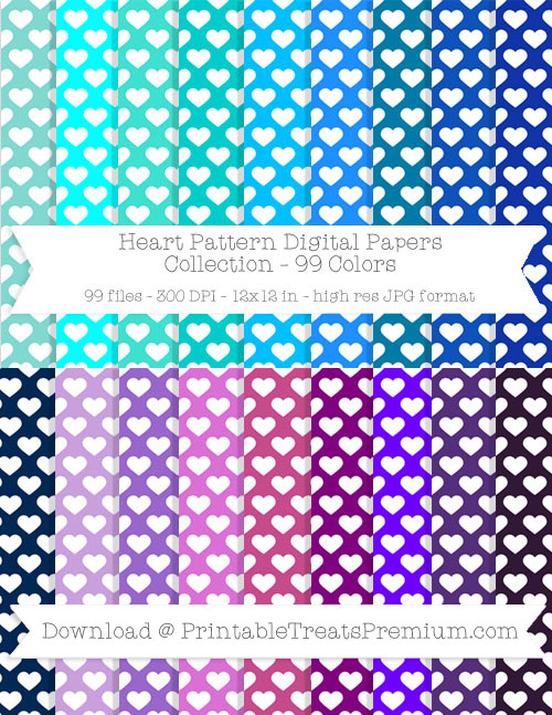 99 Colors Heart Pattern Digital Papers Collection