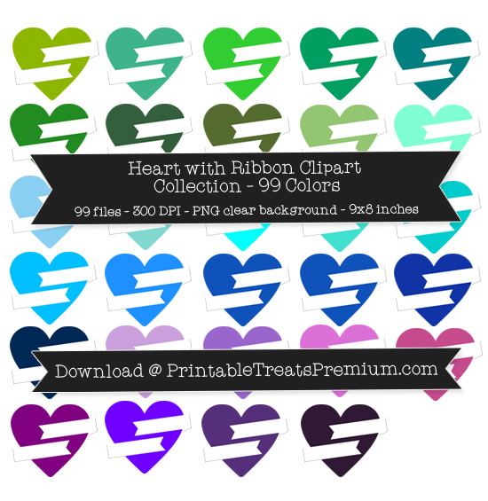 99 Colors Heart with Ribbon Clipart Collection