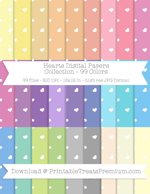 99 Colors Hearts Digital Papers Collection