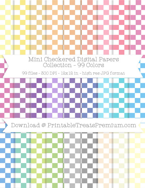 99 Colors Mini Checkered Digital Papers Collection