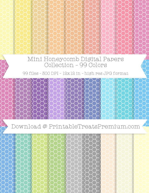 99 Colors Mini Honeycomb Digital Papers Collection