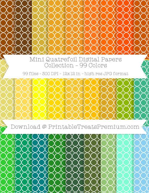 99 Colors Mini Quatrefoil Digital Papers Collection