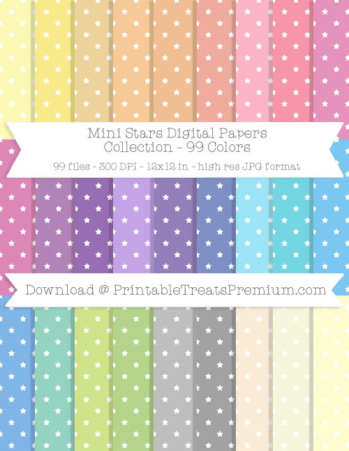 99 Colors Mini Stars Digital Papers Collection