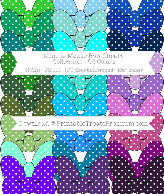 99 Colors Polka Dot Minnie Mouse Bow Clipart Collection