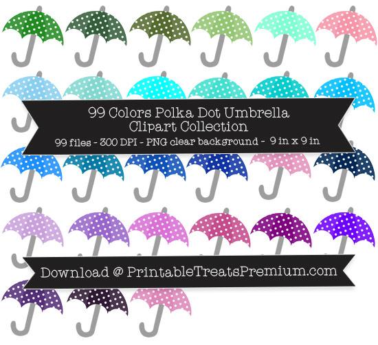 99 Colors Polka Dot Umbrella Clipart Collection