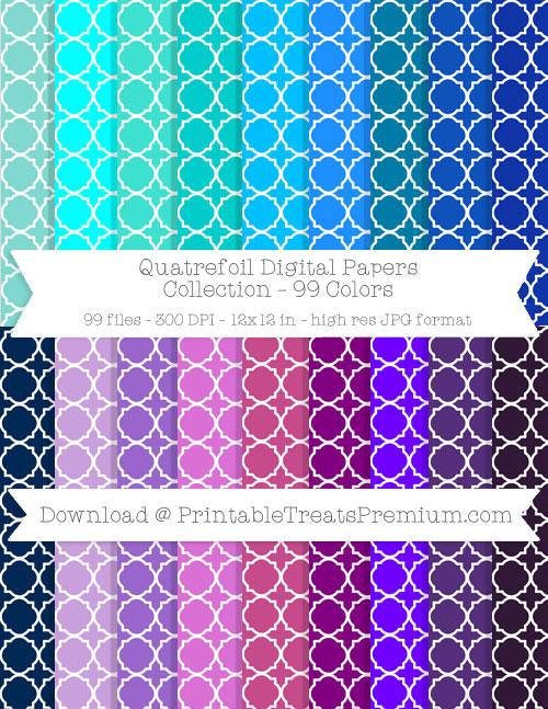 99 Colors Quatrefoil Digital Papers Collection
