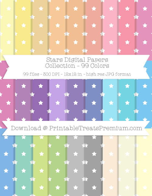 99 Colors Stars Digital Papers Collection