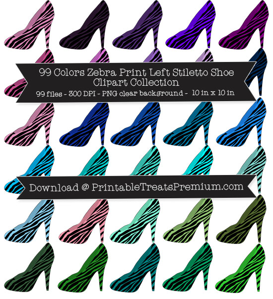 99 Colors Zebra Print Left Stiletto Shoe Clipart Collection