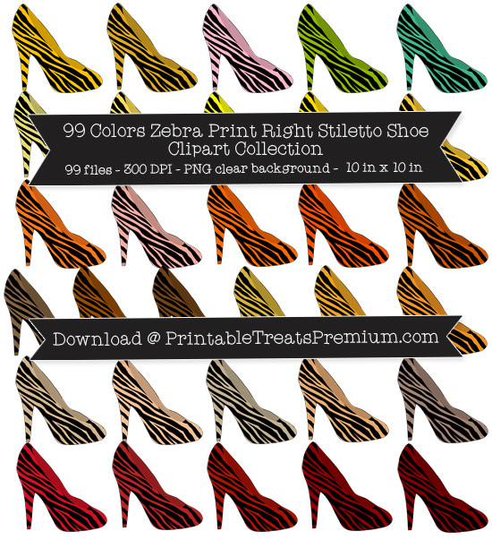 99 Colors Zebra Print Right Stiletto Shoe Clipart Collection