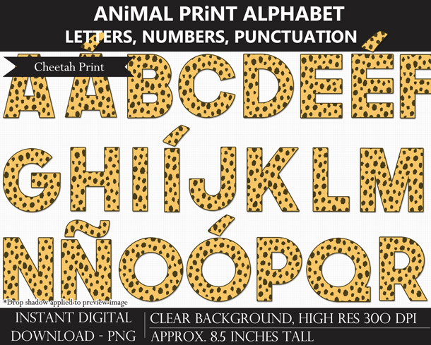 Love these fun animal print alphabet clip art for bulletin boards and scrapbooking!