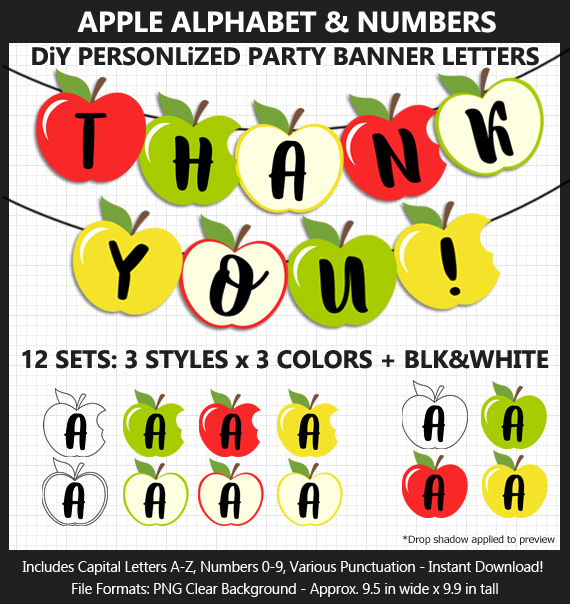Love these cute apple alphabet clipart for fall decoration and Teacher Appreciation Day - Letters, Numbers, Punctuation