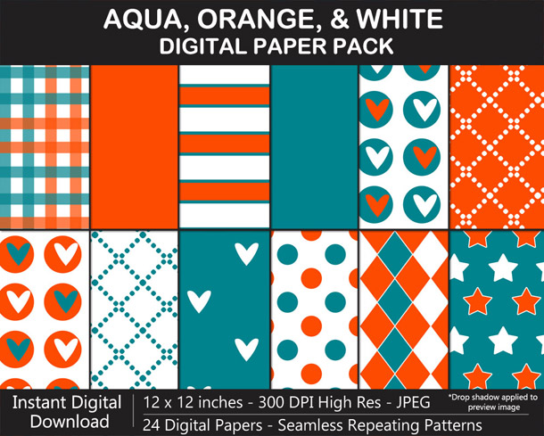 Love these fun aqua, orange, and white seamless pattern digital papers!