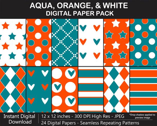 Love these fun aqua, orange, and white seamless pattern digital papers!