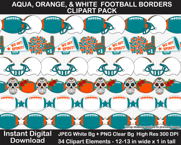 Love these fun aqua, orange, and white football borders for scrapbooks, signs, and bulletin boards. Go Dolphins!