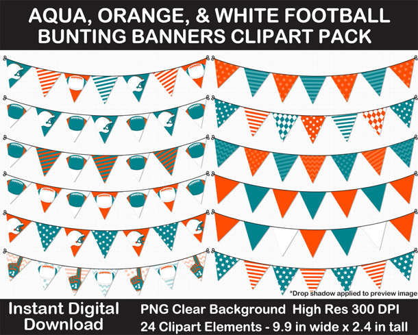 Love these fun Aqua, Orange, and White Football Theme Bunting Banner Clipart - Go Dolphins!