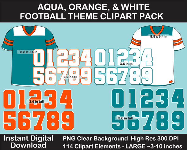 Love these fun Aqua, Orange, and White Football Theme Clipart - Letters, Numbers, Punctuation - Go Dolphins!