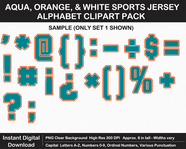 Love these fun Aqua, Orange, and White Sports Jersey Alphabet Clipart for Sign Making - Letters, Numbers, Punctuation - Go Dolphins!
