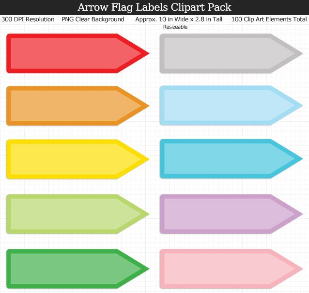 Love these rainbow arrow flag label clipart for my binders and planner. 100 colors!