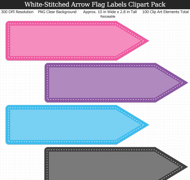 Arrow Flag Labels Clip Art Pack