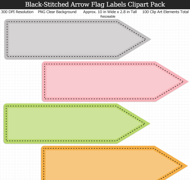 Arrow Flag Labels Clipart Pack