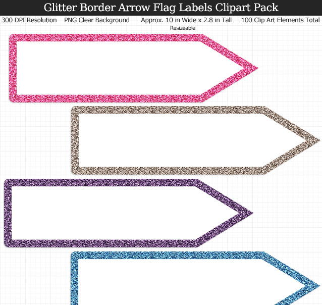 Love these rainbow glitter arrow flag label clipart for my binders and planner. 100 colors!