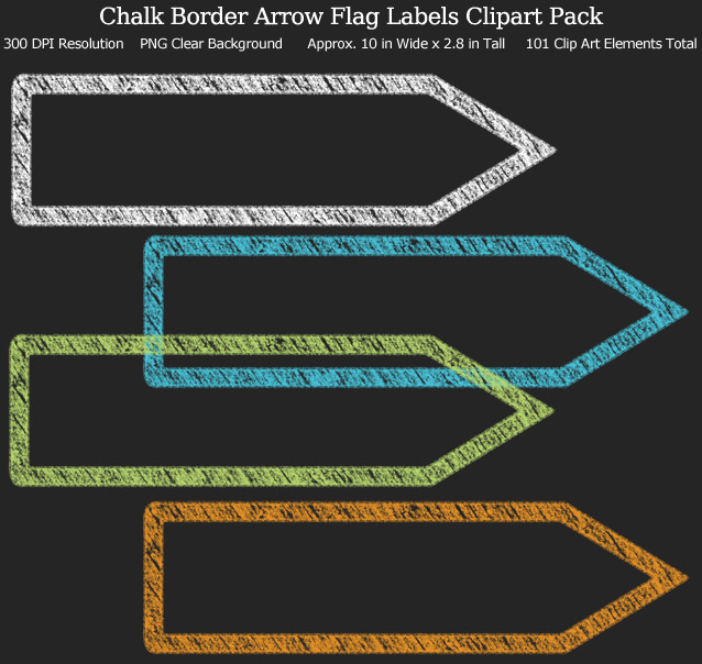 Love these rainbow chalk arrow flag label clipart for my binders and planner. 101 colors!